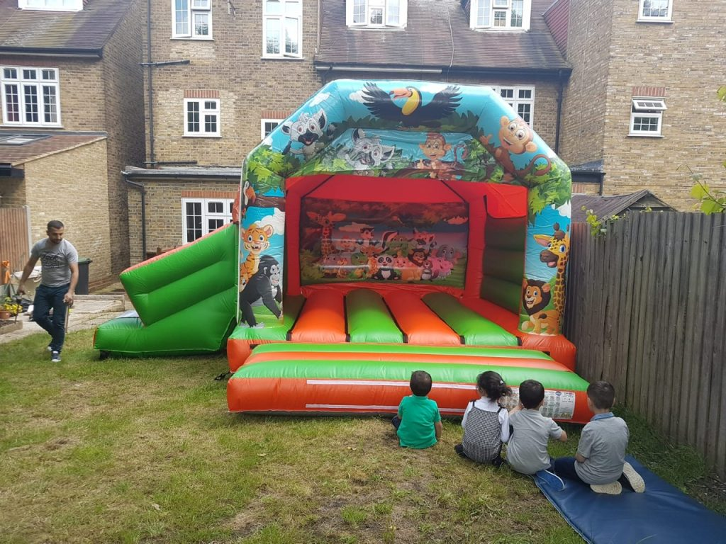 Jungle Bouncy Castle and Slide Combination