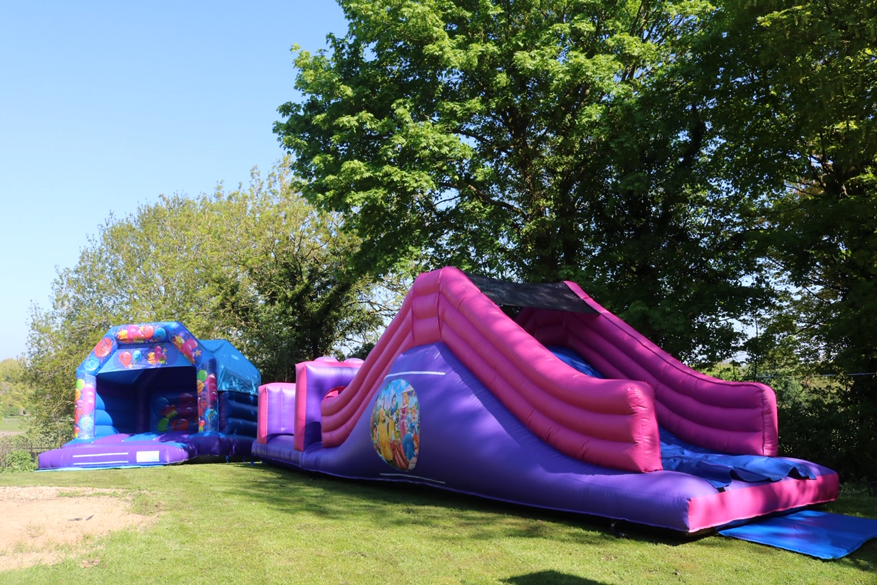 Princess Obstacle Course with Slide with Celebration Bouncy Castle
